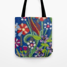 Starry Floral Felted Wool, Blue Tote Bag