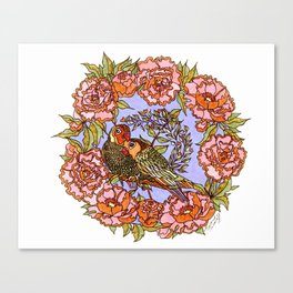 Lovebirds With Peony Wreath Canvas Print