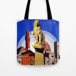 Florence Firenze travel, lion statue Tote Bag