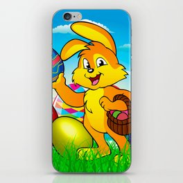 Easter bunny rabbit with Easter basket iPhone Skin