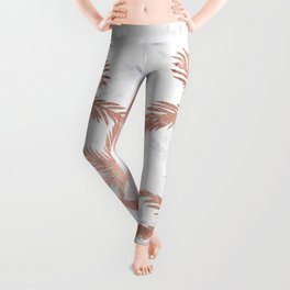 Tropical simple rose gold palm trees white marble Leggings