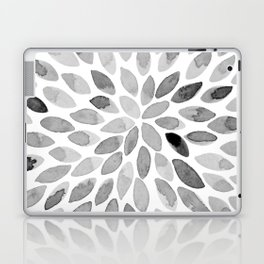 Watercolor brush strokes - black and white Laptop & iPad Skin