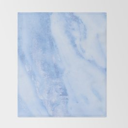 Shimmery Pure Cerulean Blue Marble Metallic Throw Blanket