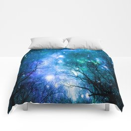 Black Trees Blue Turquoise Teal Space Comforters