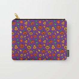 Purple Pumpkin Pattern Print Halloween Carry-All Pouch