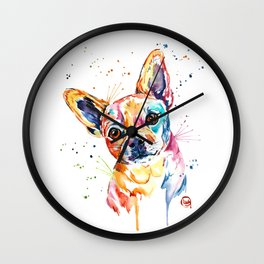 Chihuahua - Tucker - Colorful Watercolor Pet Portrait Painting Wall Clock