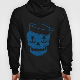 Skull In Sailor Hat Anchor Eyes Ocean Waves Nautical Fashion Novelty Anchor T-Shirts Hoody
