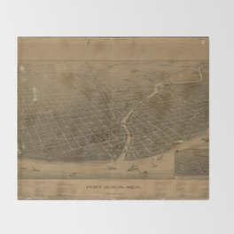 Aerial View of Port Huron, Michigan (1894) Throw Blanket