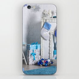 Christmas interior in blue color. Christmas tree with fireplace, Christmas holiday and New Year back iPhone Skin