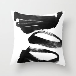 Black and White Abstract Shapes Ink Painting Throw Pillow