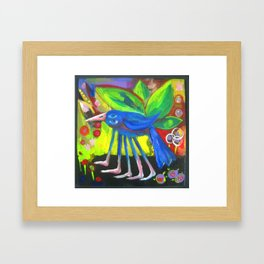 Blue Bird with Five Legs Framed Art Print