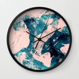 Tenerife: a vibrant abstract in blue, green, and pink Wall Clock