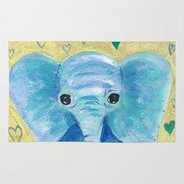 Elephant painting, Nursery Decor, Child's Room Decor, Hearts Painting, Blue, Green, Gold Rug