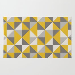 Retro Triangle Pattern in Yellow and Grey Rug