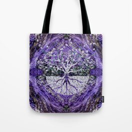 Silver Tree of Life Yggdrasil on Amethyst Geode Tote Bag