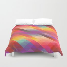 Abstract Colorful Decorative Squares Pattern Duvet Cover
