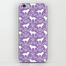 Border Collie silhouette minimal floral florals dog breed pet pattern purple and white iPhone Skin