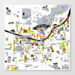 Santiago Map Canvas Print