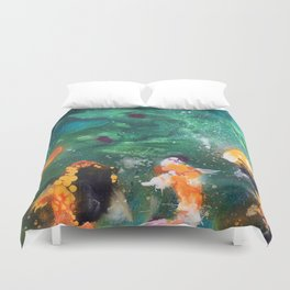 Feeding the Koi Duvet Cover