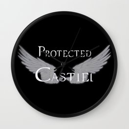 Protected by Castiel White Wings Wall Clock