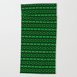Dividers 02 in Green over Black Beach Towel