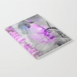 Statue of  Liberty pink mixed media art Notebook