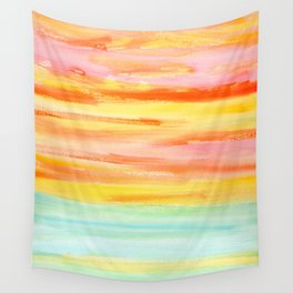 Summer Sunset Abstract Painting Stripes Pattern Modern - Be Yourself And Fall In Love Wall Tapestry