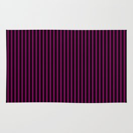 Black and Neon Pink Mattress Ticking Bed Stripes Rug