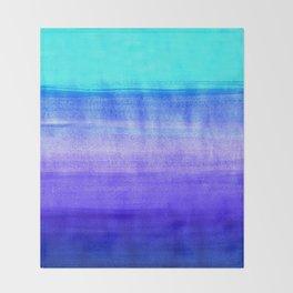 Ocean Horizon - cobalt blue, purple & mint watercolor abstract Throw Blanket