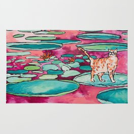 Ginger Cat amongst the Lily Pads on a Pink Lake Rug