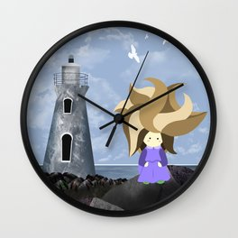 WasteLand Girl and a lighthouse Wall Clock