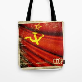 Sticker of Soviet Union (1922-1991) flag Tote Bag