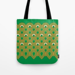 retro sixties inspired fan pattern in green and orange Tote Bag