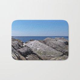 Blue Sea Beyond the Rocks Bath Mat