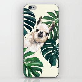 Sneaky Llama with Monstera iPhone Skin