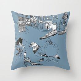 Feeding Pigeons Throw Pillow