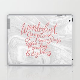 Wanderlust Words - Pink on Marble Laptop & iPad Skin