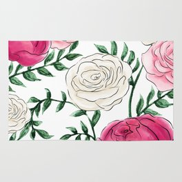 Rose Florals and Stems Rug