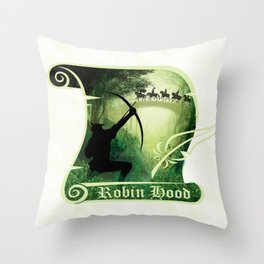 Robin Hood - Scroll - Green Throw Pillow