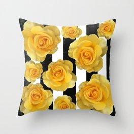 Yellow Roses on Black & White Stripes Throw Pillow