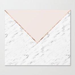 Peony blush geometric marble Canvas Print