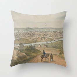 Vintage Pictorial Map of Cincinnati OH (1841) Throw Pillow