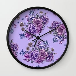 Vintage Purple Florals Wall Clock