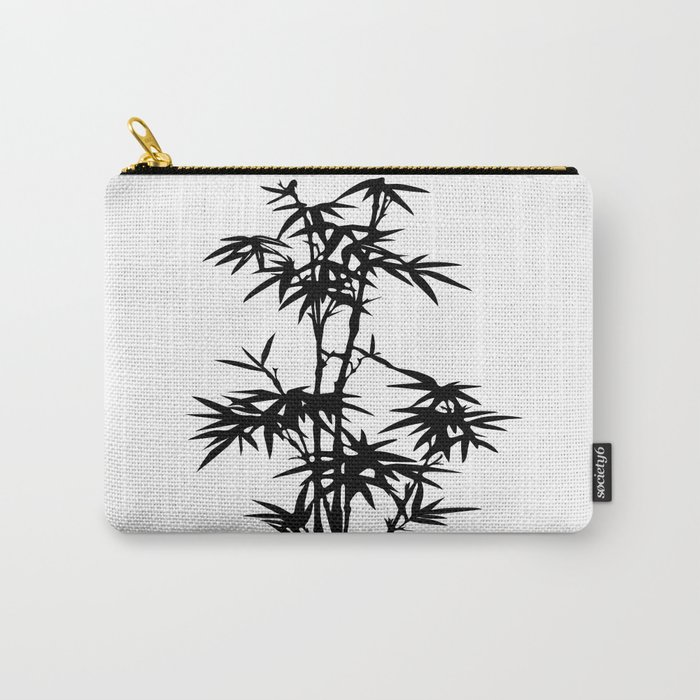 Bamboo Silhouette Black And White Carry-All Pouch