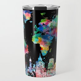 world map city skyline 3 Travel Mug