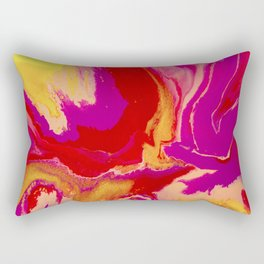 Abstract Pink and Yellow Resin Fluid Painting Rectangular Pillow