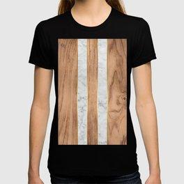 Wood Grain Stripes - White Marble #497 T-shirt