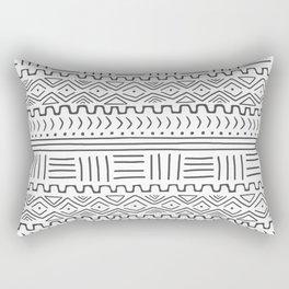 Mud Cloth on White Rectangular Pillow