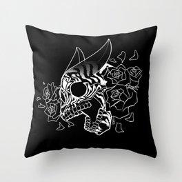 Skull 'n' Roses (NightmareNetty-Black&White) Throw Pillow