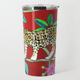 Rainforest Friends - watercolor animals on textured red Travel Mug